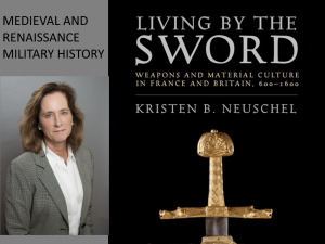 "Neuschel headshot and cover of book ""Living By The Sword"""